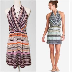 "Athleta Purple Stripe ""Go Anywhere"" Halter Dress"
